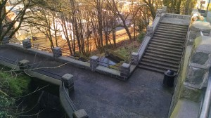 top of the stairs, right before aid station.